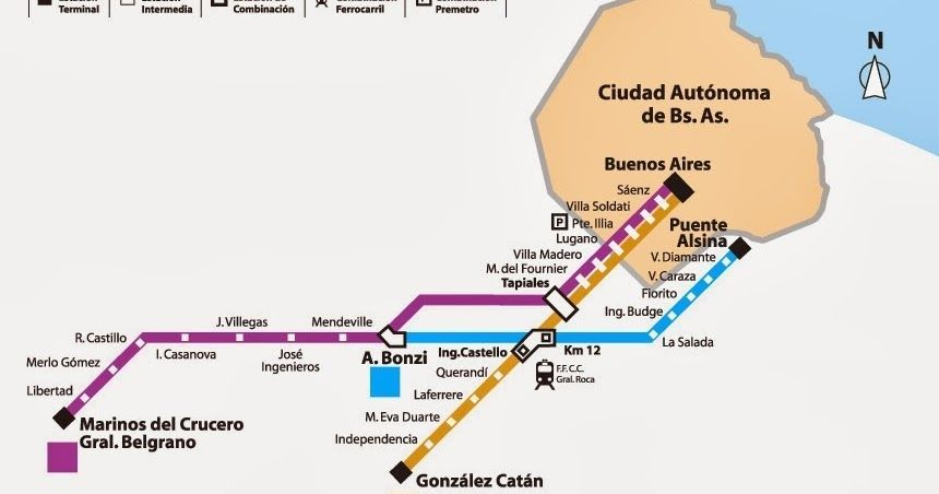 Mapa de la línea de tren Belgrano Sur