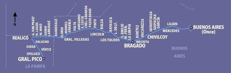 Servicio completo del tren Sarmiento que pasa por Mercedes, Suipacha, Chivilcoy y Bragado